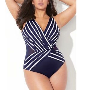 Swimsuits For All Navy Striped Plunge Swimsuit